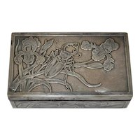 Small Silver Box Embossed w/ Iris Flowers and a Beetle c.1910