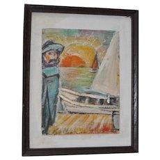 "Karl Nolde ""Kanol"" (German, 1902-1994) German Expressionist Mixed Media Painting c.1970s"