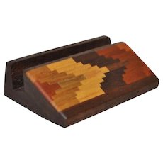 Douglas Stowe (20th c. Woodworker) Hand Made Wood Inlay Business Card Holder