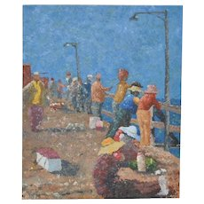 Fishing from the Pier Original Oil Painting
