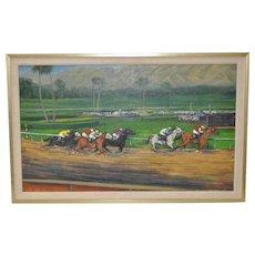 """Keith Bright """"Santa Anita Park"""" Oil Painting"""