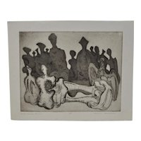 """Arnold Grossman """"Henry Moore Family"""" Etching c.1970s"""
