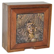 Hand Crafted Wooden Box w/ Cast Bronze Resin Foliage Sculpture