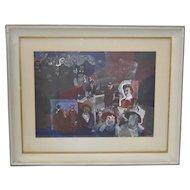 """Thomas Sparacino """"Family"""" Mixed Media Painting c.1970s"""