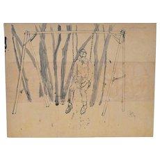 "Vintage 1950s Illustration ""Man on Swing"" c.1959"