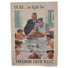 """Norman Rockwell US Government War Propaganda Poster """"Freedom From Want"""" c.1943"""