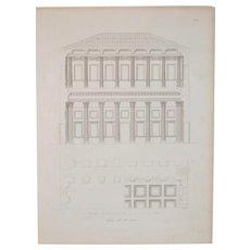 "19th Century Architectural Engraving ""Adademia della Belle Arti"" Milan, Italy c.1830s"