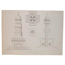 "19th Century Architectural Engraving ""Bell Tower of the Catholic Temple"" c.1830s"