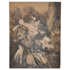 """Florence Maurine Truelson (Utah Artist) Original Gouache and Ink Illustration """"The Embrace"""" c.1924"""