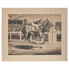Charles Ellis (1922-2004) Original Churchill Downs Illustration c.1950s