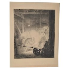 "Fine Art Etching ""Chinese Foundry Workers"" c.1904"