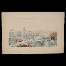 """Robert Naly (1900-1983) """"Paris"""" Lithograph c.1950"""