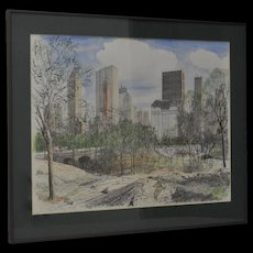 Fine Pen, Ink and Watercolor Painting of Central Park, New York c.1981