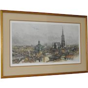 "Luigi Kasimir ""General View of Vienna"" Etching w/ Aquatint c.1940s"