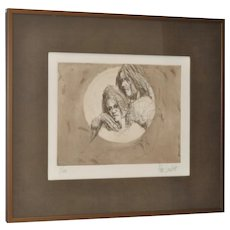 Aldo Luongo Limited Edition Lithograph of a Young Couple c.1970