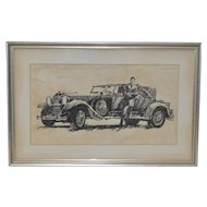Vintage Original Automobile Illustration by B. Termeo c.1920s