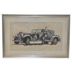 Vintage Original Automobile Illustration by B. Termeo c.1920s
