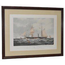 The Steam Frigate Cyclops Color Engraving c.1850s
