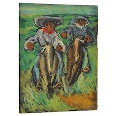 Carlos Lopez-Ruiz (Colombia 1912-1972) Colombian Cowboys Oil Painting c.1950