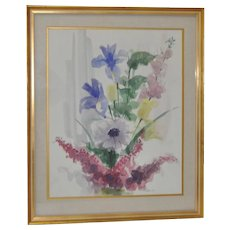 Mid Century Floral Bouquet Watercolor c.1957