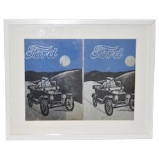 Vintage Ford Advertising Mirrors Framed