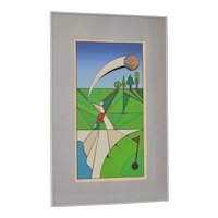 """Vintage Cubist Golf """"A Birdie"""" Silkscreen by Herman c.1977"""