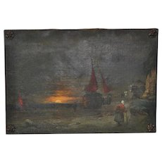 Antique Dutch Landscape Oil Painting