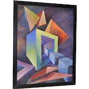 Giuseppe Napoli (New York, 1929-167) Mid Century Geometric Abstract Oil Painting c.1950