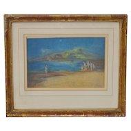 "Abraham Goldberg ""Coastal Scene w/ Figures"" Pastel Painting c.1930s"