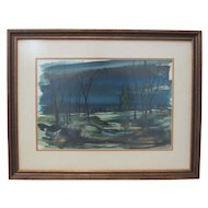 Vintage Watercolor Landscape Painting by D. Waterman