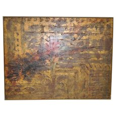 Vintage Mid Modern Abstract Oil Painting c.1960