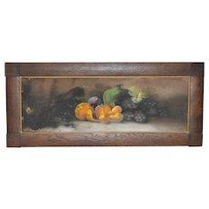 Antique Pastel Still Life Painting w/ Oak Frame c.1900