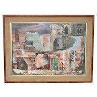 """Maryn Hunzeker """"Explorers"""" Original Casein Painting c.1960"""