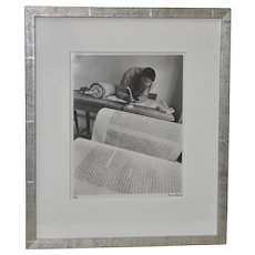 "Micha Bar-Am ""Torah Scribe, Jaffa"" Original Signed Photograph c.1971"