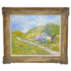 Country Farm on a Spring Day Original Oil Painting