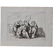 "Bartolomeo Pinelli ""Brutus Vows to Avenge the Death of Lucretia"" Engraving c.1817"