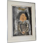 """Graciela Rodo Boulanger """"Girl w/ Bird"""" Signed & Numbered Lithograph c.1970s"""