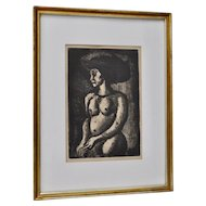 """Georges Rouault """"Girl in the Grand Hat"""" Etching c.1928"""