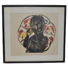 "Hope Merryman Original Woodcut Print ""Kaleidoscope"" Artist Proof c.1967"