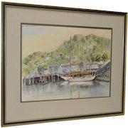 Watercolor by MERV (Mervin M. Schwartz) California Coastal Scene c.1960s