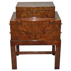 Early 20th Century Burl Walnut Jewelry Box on Stand
