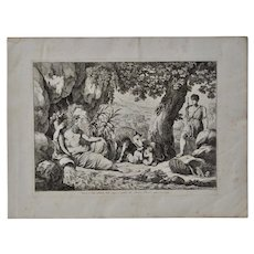 "Bartolomeo Pinelli Engraving ""Romulus and Remus Suckling Lupa"" c.186"