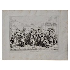 """Bartolomeo Pinelli Engraving """"The Sabine Rats Under the Rein of Romulus"""" c.1816"""