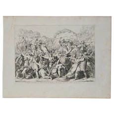 "Bartolomeo Pinelli Engraving ""Courageous Women"" c. 1818"