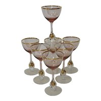 Set of Seven Vintage Bohemian Czech Wine Glasses c.1950s