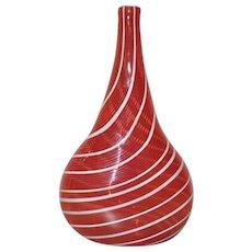 Red & White Swirl Hand Blown Vase
