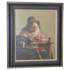 """19th c. """"The Lacemaker"""" Oil on Board after Vermeer"""