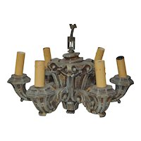 1930s Six Arm Composite Chandelier w/ Chain & Cap