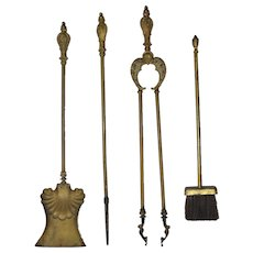 Set of Early 20th Century Brass Fireplace Tools