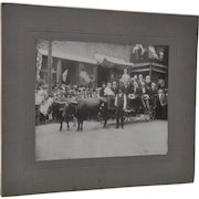 Great Antique Photo Oxen Cart w/ Old Timers and American Flags c.1910